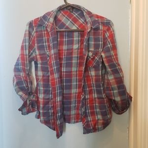 🌺2/25$🌺Red and blue plaid shirt